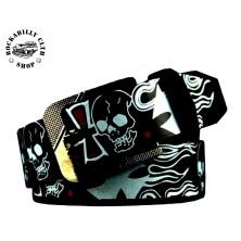 Pásek kožený Rocka Leather Belt Skull Cross Black