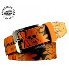 Pásek kožený Rocka Leather Belt Skull Cross Brown