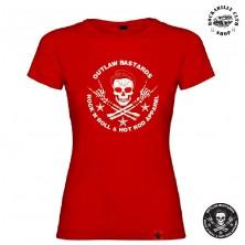 Tričko Dámské Outlaw Bastards Skull Red