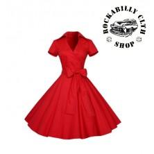 Šaty Rocka Polka Dot Short Sleeve Big Bow Red