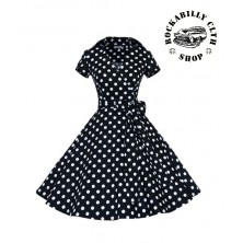 Šaty Rockabilly Retro Pin Up Polka Dot Short Sleeve Big Bow Black/ Wht