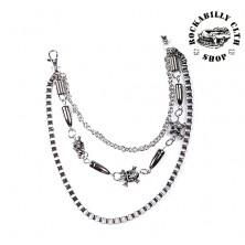 Řetěz k peněžence Rocka Skulls & Bullets Wallet Chain