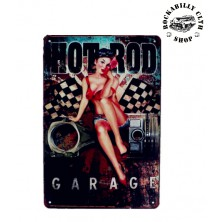 Plechová americká US cedule Rocka Hot Rod Garage