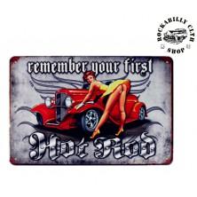 Plechová americká US cedule Rocka Remember Your First