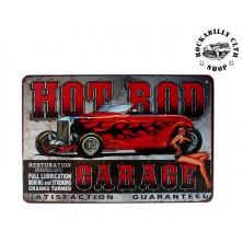 Plechová americká US cedule Rocka Hot Rod Red