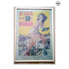 Retro obraz Rocka Pin-Up Woman Attack