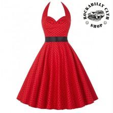 Šaty Rocka Barbara Polka Dot Red/ Blk