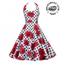 Šaty Rockabilly Retro Pin Up Barbara Polka Dot & Roses Wht