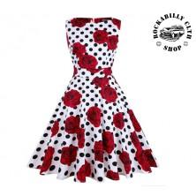 Šaty Rocka Nancy Polka Dots & Roses Wht