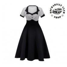 Šaty Rockabilly Retro Pin Up Polka Dot Short Sleeve Wht/ Blk