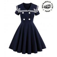 Šaty Rockabilly Retro Pin Up Sailor Navy Short Sleeve Dark Blue