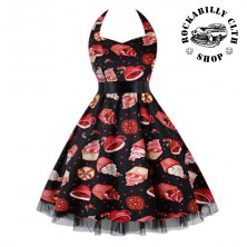 Šaty Rockabilly Retro Pin Up Barbara Cherries & Cupcakes Dress