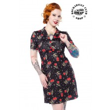 Dámské šaty Rockabilly Retro Pin Up Sourpuss Clothing Love Cherries Rosie Dress