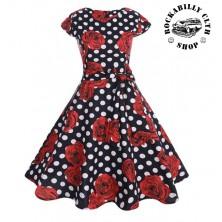Šaty Rocka Samantha Dots & Roses Black