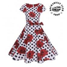 Šaty Rockabilly Retro Pin Up Samantha Dots & Roses White