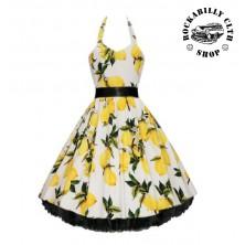 Šaty Rockabilly Retro Pin Up Barbara Lemon White
