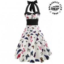 Šaty Rockabilly Retro Pin Up Barbara Butterfly White