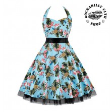 Šaty Rockabilly Retro Pin Up Barbara Floral Blue