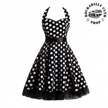 Šaty Rockabilly Retro Pin Up Barbara Polka Dot Blk/Wht