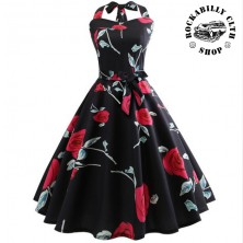 Šaty Rockabilly Retro Pin Up Barbara Roses Black