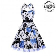 Šaty Rockabilly Retro Pin Up Barbara Floral White