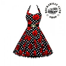 Šaty Rockabilly Retro Pin Up Barbara Polka Dot & Roses