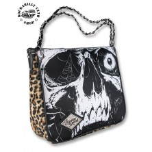 Dámská taška kabelka retro rockabilly pin-up Liquor Brand Shoulder Chain Bag Skull