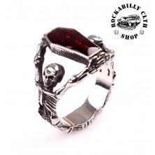 Prsten ocelový Rocka Coffin Skull Silver