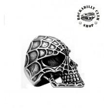 Prsten ocelový Rocka Spider Skull Silver