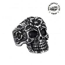 Prsten stříbrný Rocka Skull & Roses Silver