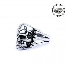 Prsten ocelový Rocka Skull & Bones Silver