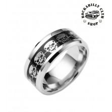 Prsten ocelový Rocka Skulls Ring Silver II.