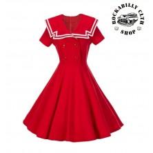 Dámské šaty Rockabilly Retro Pin Up Sailor Navy Short Sleeve Red