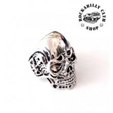 Prsten ocelový Rocka Skull Biker Silver