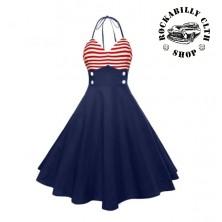 Dámské šaty Rockabilly Retro Pin Up Sailor Navy Blue / Red