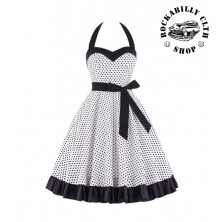 Šaty Rockabilly Retro Pin Up Barbara Polka Dot Wht/Blk