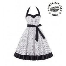 Dámské šaty Rockabilly Retro Pin Up Barbara Polka Dot Wht/Blk