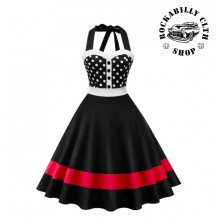 Šaty Rockabilly Retro Pin Up Barbara Polka Dot Red Line