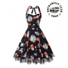 Dámské šaty Rockabilly Retro Pin Up Barbara Helloween Blk