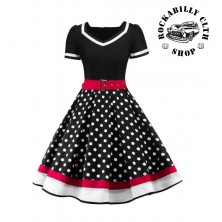 Šaty Rockabilly Retro Pin Up Polka Dot Red White Line Short Sleeve