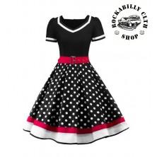 Dámské šaty Rockabilly Retro Pin Up Polka Dot Red White Line Short Sleeve
