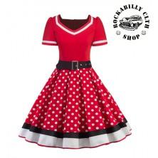 Dámské šaty Rockabilly Retro Pin Up Polka Dot Black White Line Short Sleeve
