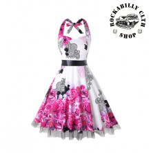 Šaty Rockabilly Retro Pin Up Barbara Floral Wht / Pink