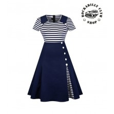 Šaty Rockabilly Retro Pin Up Navy Dark Blue Short Sleeve