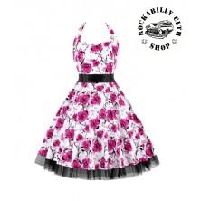 Dámské šaty Rockabilly Retro Pin Up Barbara Flowers Wht / Red