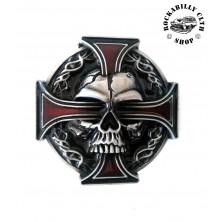 Přezka na pásek Rocka Skull Cross Buckle Red