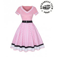 Šaty Rockabilly Retro Pin Up Polka Dot Pink Black Line Short Sleeve