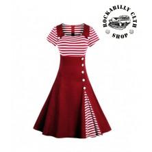Dámské šaty Rockabilly Retro Pin Up Navy Dark Red Short Sleeve