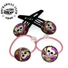 Sada sponek / gumiček do vlasů lebky Rockabilly Skull Pink