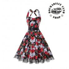 Dámské šaty Rockabilly Retro Pin Up Barbara Skulls & Roses